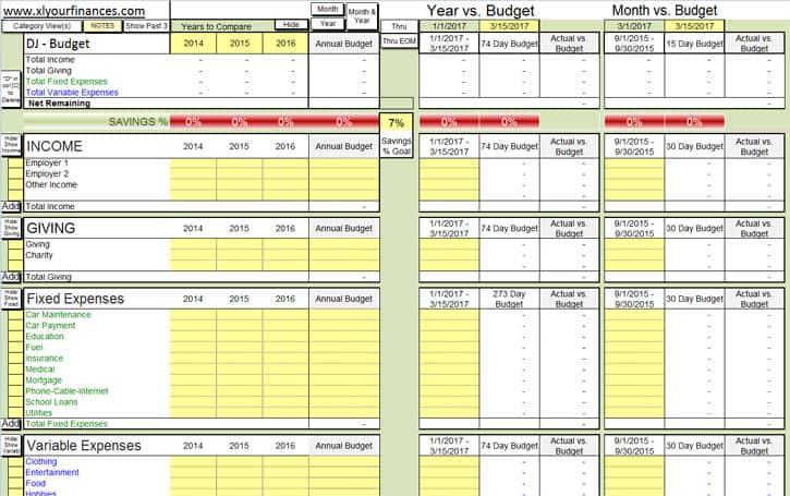xlyourfinances budget